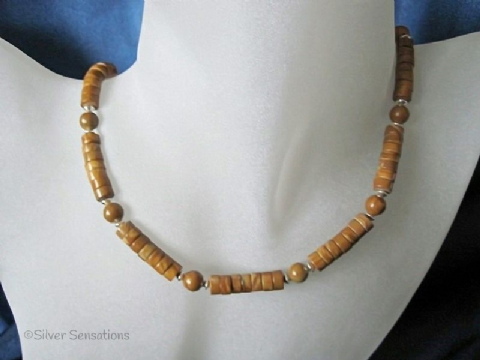 Tan Brown Gold Lace Agate Heishi Beads & Sterling Silver Necklace